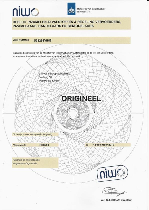 NIWO VIHB-registratie voor Grofvuil Pick Up Service